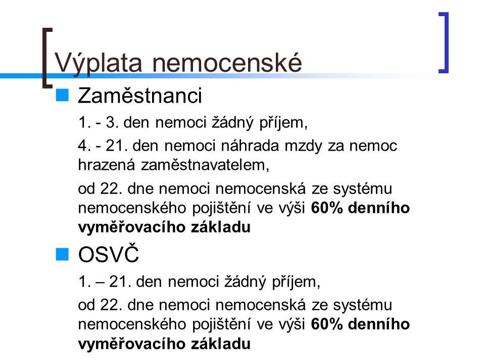 Výplata nemocenské  Zaměstnanci 1.- 3. den nemoci žádný příjem, 4.