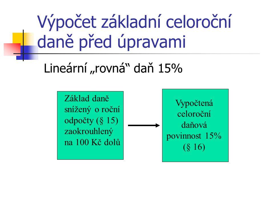 """Výpočet základní celoroční daně před úpravami Lineární """"rovná"""" daň 15% Základ daně snížený o roční odpočty (§ 15) zaokrouhlený na 100 Kč dolů Vypočten"""