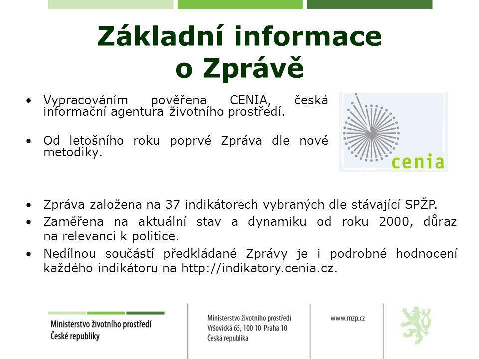 Základní informace o Zprávě •Vypracováním pověřena CENIA, česká informační agentura životního prostředí.