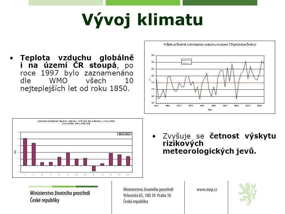 Vývoj klimatu •Teplota vzduchu globálně i na území ČR stoupá, po roce 1997 bylo zaznamenáno dle WMO všech 10 nejteplejších let od roku 1850.