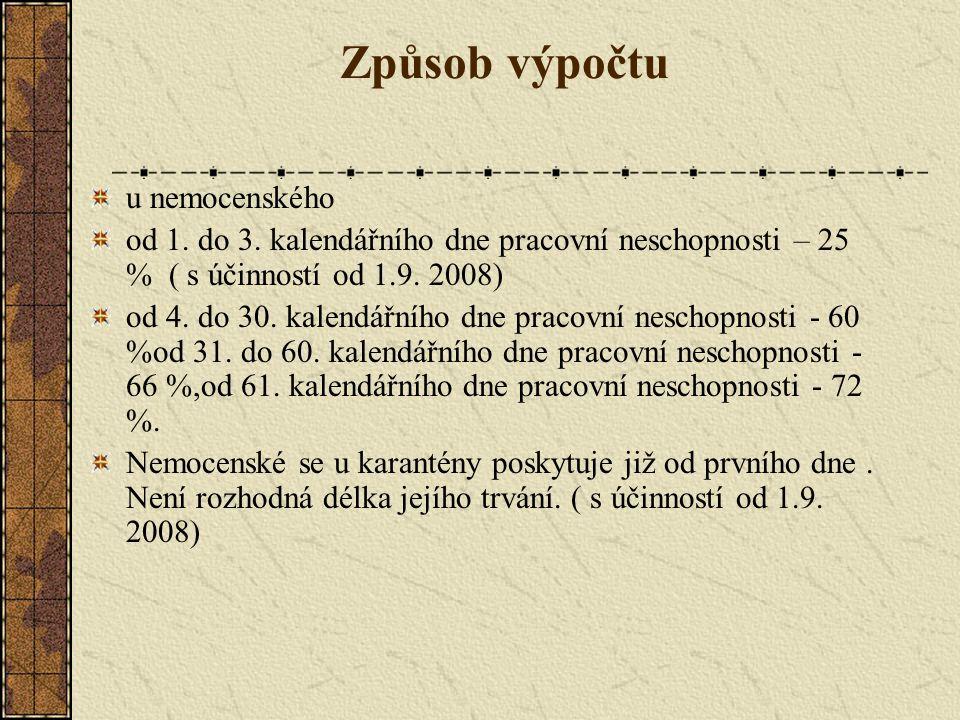 Způsob výpočtu u nemocenského od 1. do 3.