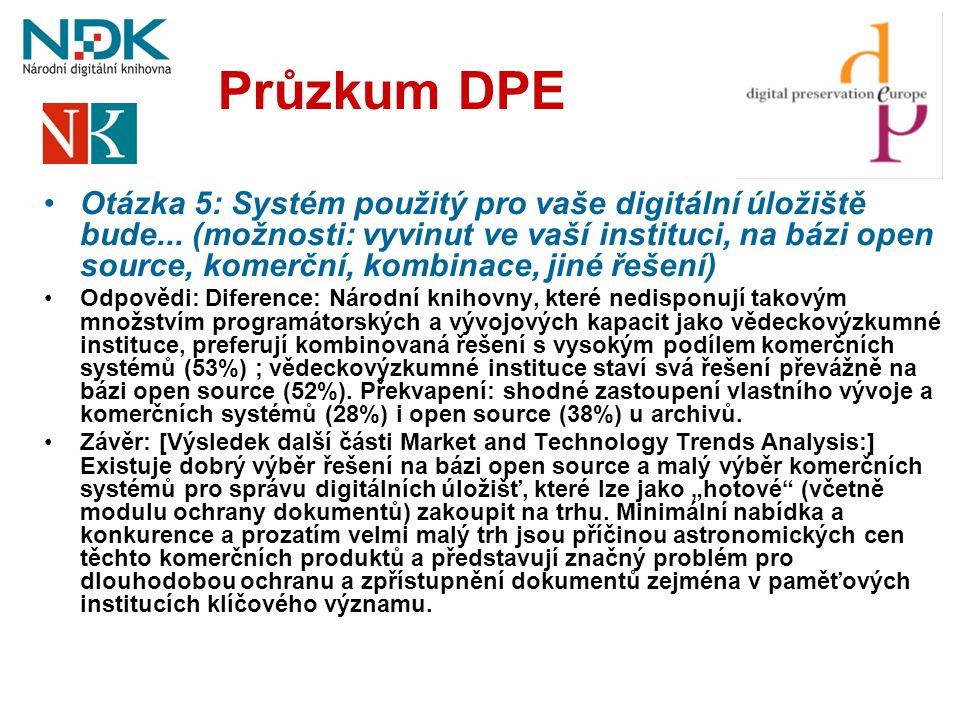 Průzkum DPE •Otázka 5: Systém použitý pro vaše digitální úložiště bude... (možnosti: vyvinut ve vaší instituci, na bázi open source, komerční, kombina