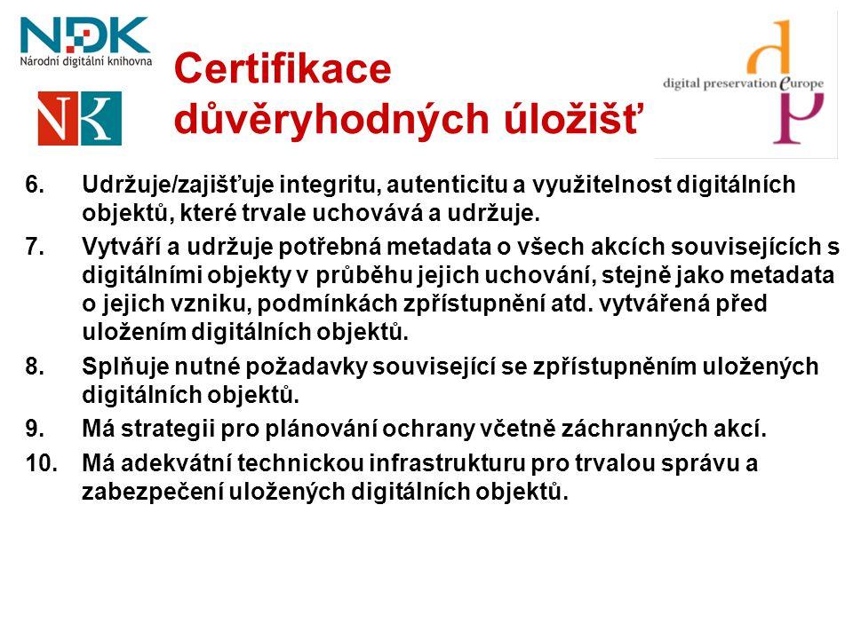 Certifikace důvěryhodných úložišť 6.Udržuje/zajišťuje integritu, autenticitu a využitelnost digitálních objektů, které trvale uchovává a udržuje. 7.Vy