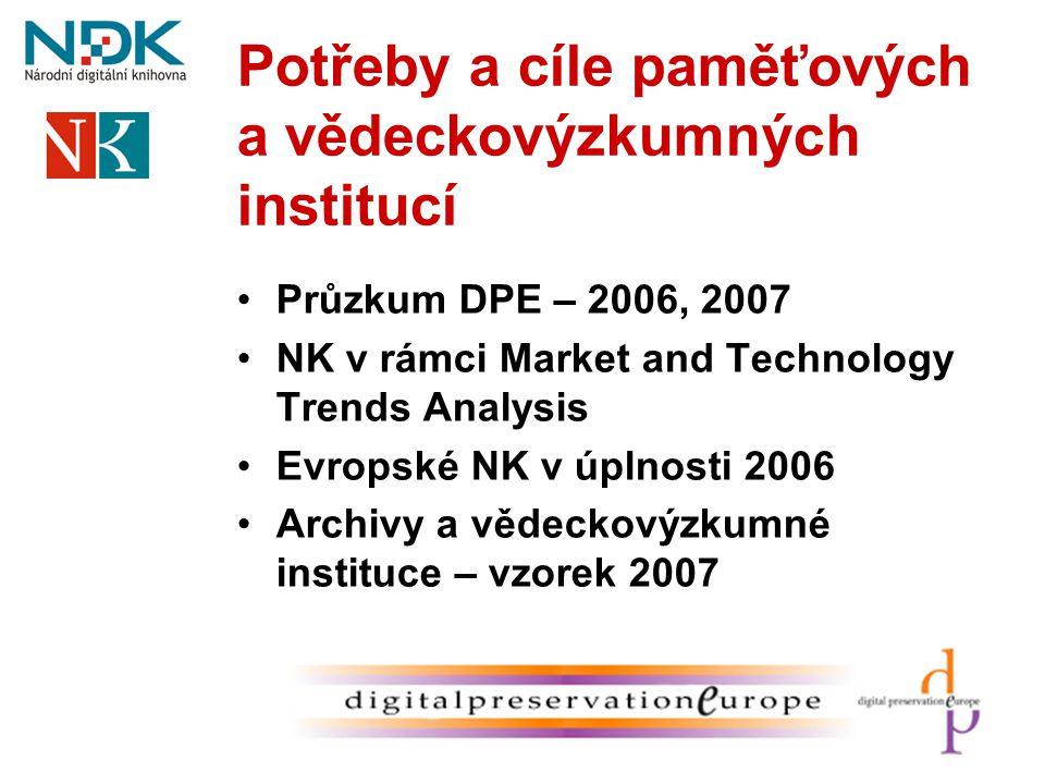 Potřeby a cíle paměťových a vědeckovýzkumných institucí •Průzkum DPE – 2006, 2007 •NK v rámci Market and Technology Trends Analysis •Evropské NK v úpl