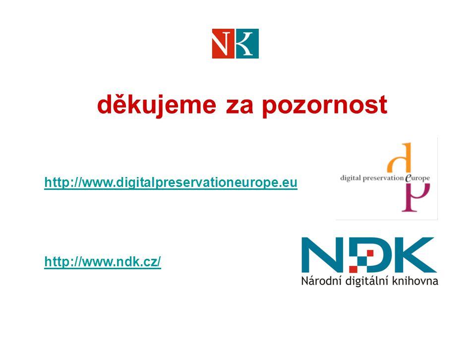 děkujeme za pozornost http://www.digitalpreservationeurope.eu http://www.ndk.cz/