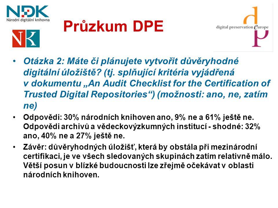 """Průzkum DPE •Otázka 2: Máte či plánujete vytvořit důvěryhodné digitální úložiště? (tj. splňující kritéria vyjádřená v dokumentu """"An Audit Checklist fo"""