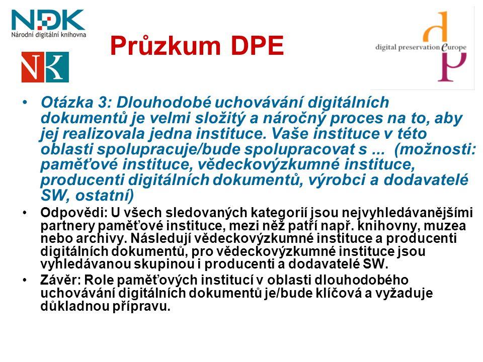 Průzkum DPE •Otázka 3: Dlouhodobé uchovávání digitálních dokumentů je velmi složitý a náročný proces na to, aby jej realizovala jedna instituce. Vaše