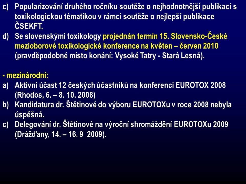 c)Popularizování druhého ročníku soutěže o nejhodnotnější publikaci s toxikologickou tématikou v rámci soutěže o nejlepší publikace ČSEKFT. d)Se slove