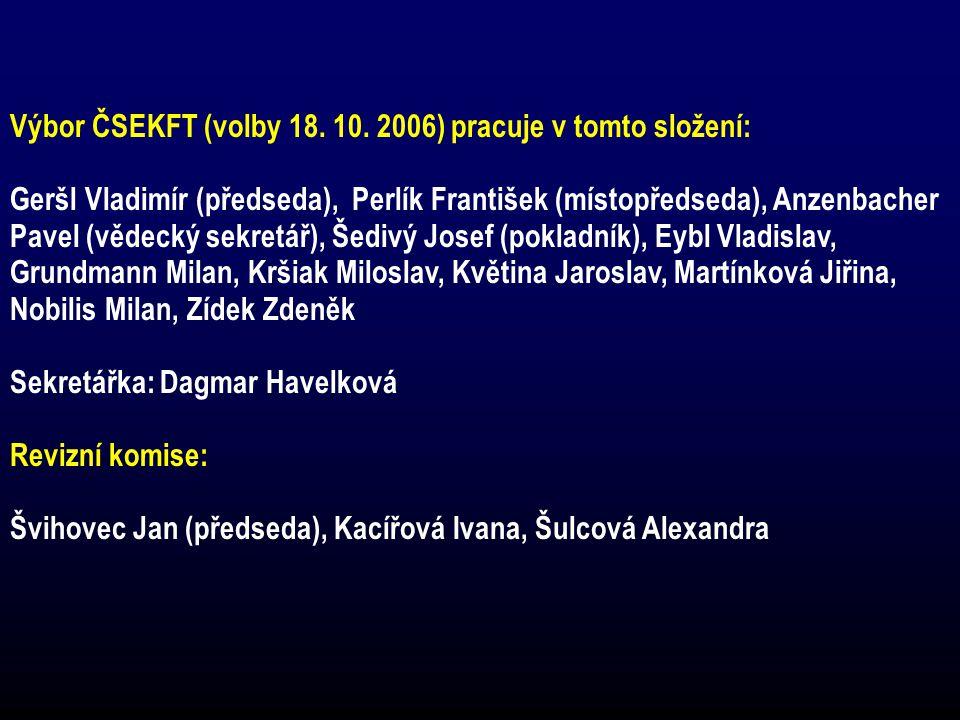 Výbor ČSEKFT (volby 18. 10. 2006) pracuje v tomto složení: Geršl Vladimír (předseda), Perlík František (místopředseda), Anzenbacher Pavel (vědecký sek