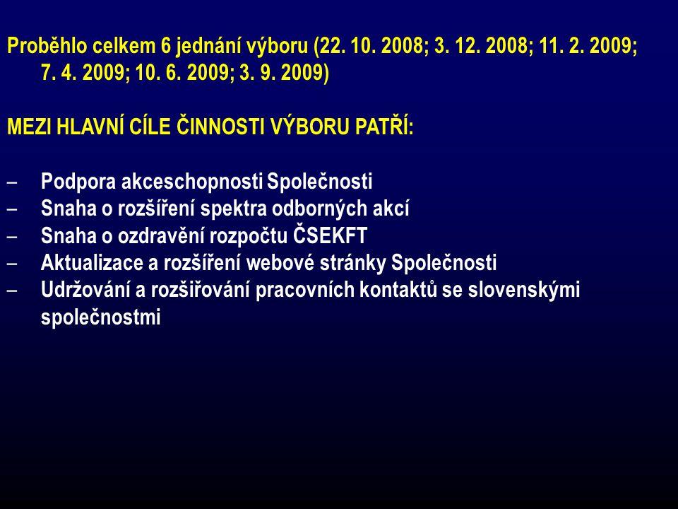 Proběhlo celkem 6 jednání výboru (22. 10. 2008; 3. 12. 2008; 11. 2. 2009; 7. 4. 2009; 10. 6. 2009; 3. 9. 2009) MEZI HLAVNÍ CÍLE ČINNOSTI VÝBORU PATŘÍ: