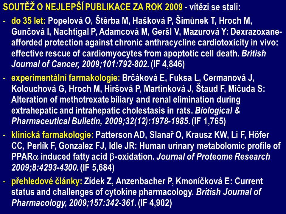 SOUTĚŽ O NEJLEPŠÍ PUBLIKACE ZA ROK 2009 - vítězi se stali: - do 35 let: Popelová O, Štěrba M, Hašková P, Šimůnek T, Hroch M, Gunčová I, Nachtigal P, Adamcová M, Geršl V, Mazurová Y: Dexrazoxane- afforded protection against chronic anthracycline cardiotoxicity in vivo: effective rescue of cardiomyocytes from apoptotic cell death.