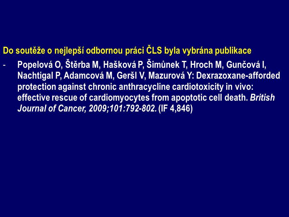 Do soutěže o nejlepší odbornou práci ČLS byla vybrána publikace - Popelová O, Štěrba M, Hašková P, Šimůnek T, Hroch M, Gunčová I, Nachtigal P, Adamcová M, Geršl V, Mazurová Y: Dexrazoxane-afforded protection against chronic anthracycline cardiotoxicity in vivo: effective rescue of cardiomyocytes from apoptotic cell death.