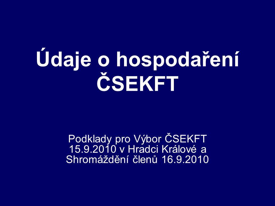 Údaje o hospodaření ČSEKFT Podklady pro Výbor ČSEKFT 15.9.2010 v Hradci Králové a Shromáždění členů 16.9.2010