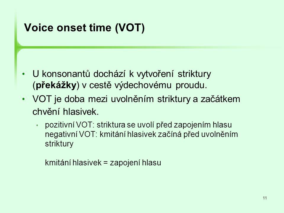 11 Voice onset time (VOT) • U konsonantů dochází k vytvoření striktury (překážky) v cestě výdechovému proudu. • VOT je doba mezi uvolněním striktury