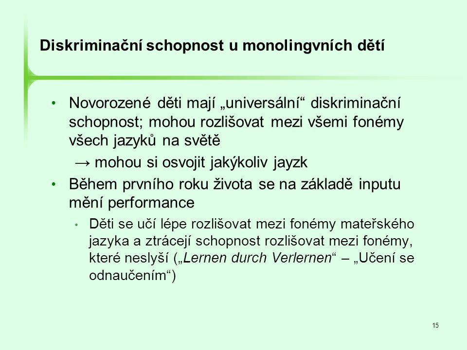 """15 Diskriminační schopnost u monolingvních dětí • Novorozené děti mají """"universální"""" diskriminační schopnost; mohou rozlišovat mezi všemi fonémy všech"""