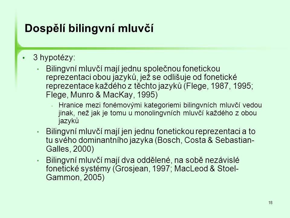 18 Dospělí bilingvní mluvčí • 3 hypotézy: • Bilingvní mluvčí mají jednu společnou fonetickou reprezentaci obou jazyků, jež se odlišuje od fonetické re