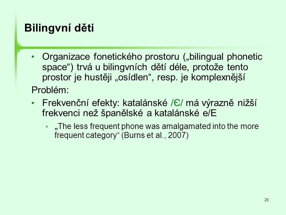 """20 Bilingvní děti • Organizace fonetického prostoru (""""bilingual phonetic space"""") trvá u bilingvních dětí déle, protože tento prostor je hustěji """"osídl"""