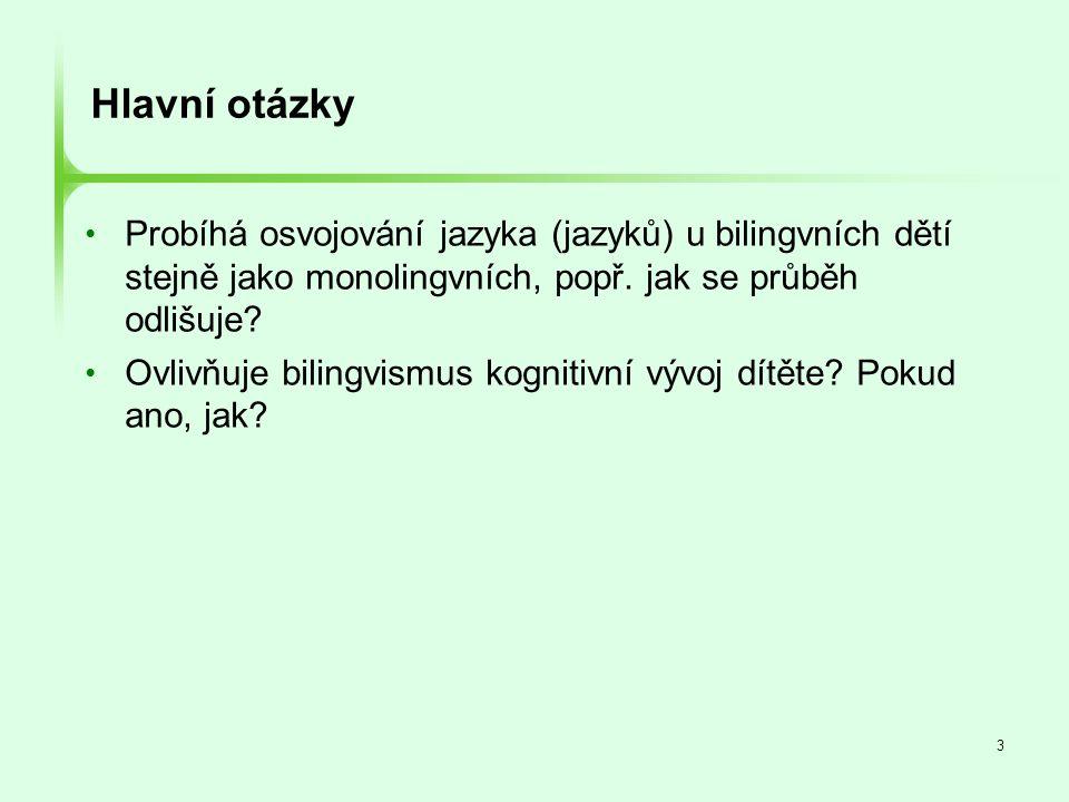 """34 Selekce jazyka u bilingvních mluvčích • Oba jazyky jsou simultánně aktivní, i když bilingvál právě užívá jen jeden z nich (e.g., Grainger & Beauvillain, 1987; Brysbaert, 1998; Kroll & Dijkstra, 2002) • Bilingválové musí neustále kontrolovat zaměření pozornosti na jeden ze dvou """"soutěžících jazykových systémů, aby mohli plynně mluvit zvoleným jazykem • Bilingválové neustále trénují zaměřování pozornosti na jeden či druhý jazyk."""