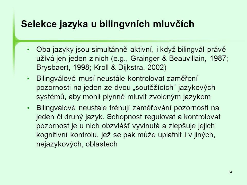 34 Selekce jazyka u bilingvních mluvčích • Oba jazyky jsou simultánně aktivní, i když bilingvál právě užívá jen jeden z nich (e.g., Grainger & Beauvil