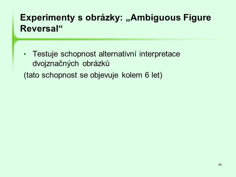 """44 Experimenty s obrázky: """"Ambiguous Figure Reversal"""" • Testuje schopnost alternativní interpretace dvojznačných obrázků (tato schopnost se objevuje k"""