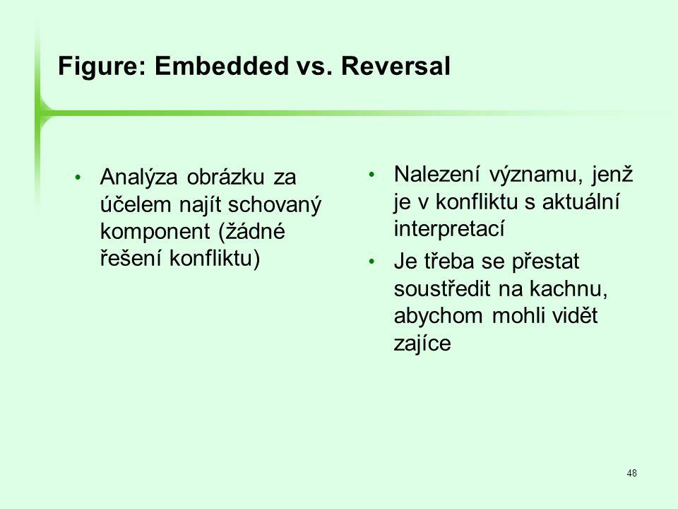 48 Figure: Embedded vs. Reversal • Analýza obrázku za účelem najít schovaný komponent (žádné řešení konfliktu) • Nalezení významu, jenž je v konfliktu