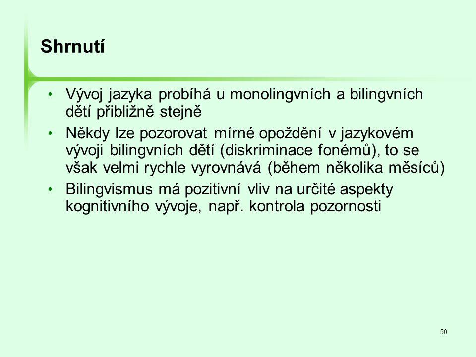 50 Shrnutí • Vývoj jazyka probíhá u monolingvních a bilingvních dětí přibližně stejně • Někdy lze pozorovat mírné opoždění v jazykovém vývoji bilingvn