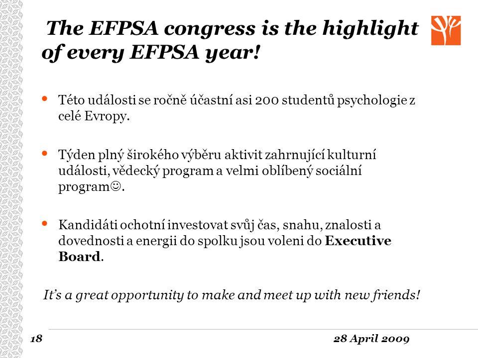 1928 April 2009 EFPSA annual Congresses so far…..
