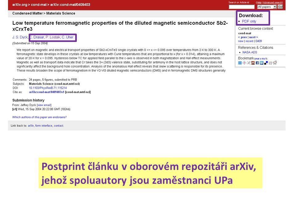 Postprint článku v oborovém repozitáři arXiv, jehož spoluautory jsou zaměstnanci UPa