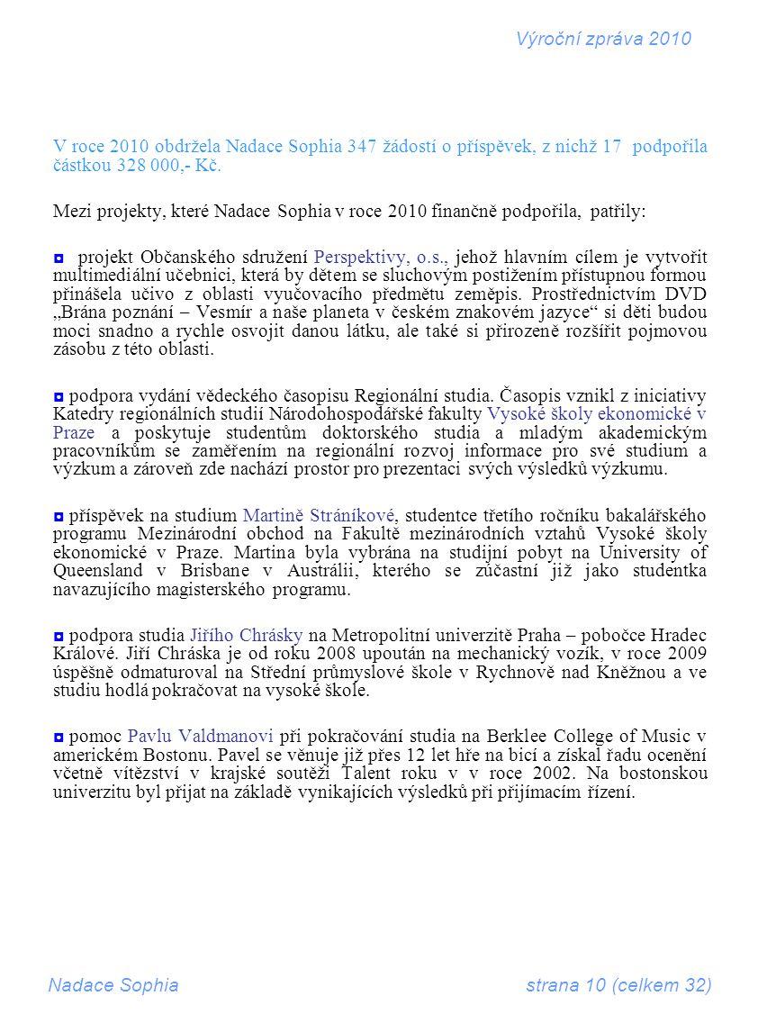 V roce 2010 obdržela Nadace Sophia 347 žádostí o příspěvek, z nichž 17 podpořila částkou 328 000,- Kč.