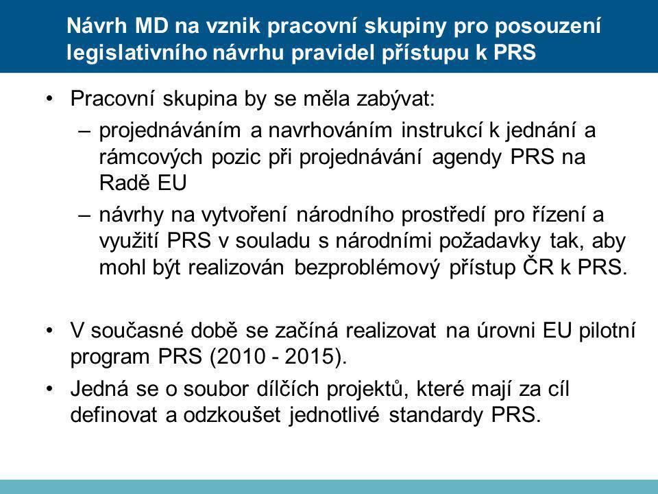 •Pracovní skupina by se měla zabývat: –projednáváním a navrhováním instrukcí k jednání a rámcových pozic při projednávání agendy PRS na Radě EU –návrh