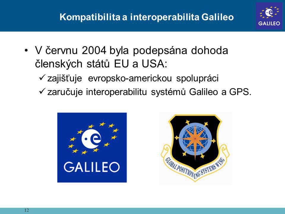 •V červnu 2004 byla podepsána dohoda členských států EU a USA:  zajišťuje evropsko-americkou spolupráci  zaručuje interoperabilitu systémů Galileo a