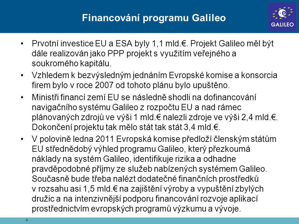 •Prvotní investice EU a ESA byly 1,1 mld.€. Projekt Galileo měl být dále realizován jako PPP projekt s využitím veřejného a soukromého kapitálu. •Vzhl