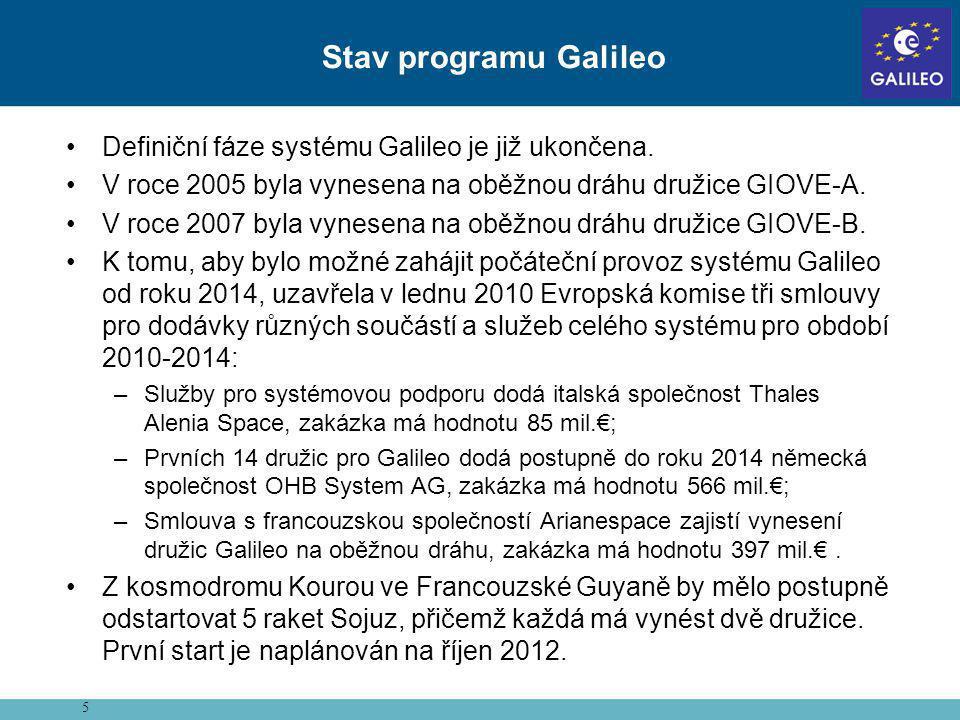 •Definiční fáze systému Galileo je již ukončena. •V roce 2005 byla vynesena na oběžnou dráhu družice GIOVE-A. •V roce 2007 byla vynesena na oběžnou dr