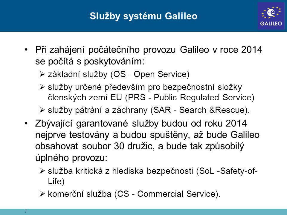 •Při zahájení počátečního provozu Galileo v roce 2014 se počítá s poskytováním:  základní služby (OS - Open Service)  služby určené především pro be
