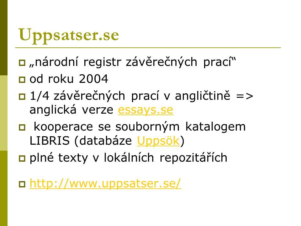 """Uppsatser.se  """"národní registr závěrečných prací  od roku 2004  1/4 závěrečných prací v angličtině => anglická verze essays.seessays.se  kooperace se souborným katalogem LIBRIS (databáze Uppsök)Uppsök  plné texty v lokálních repozitářích  http://www.uppsatser.se/ http://www.uppsatser.se/"""