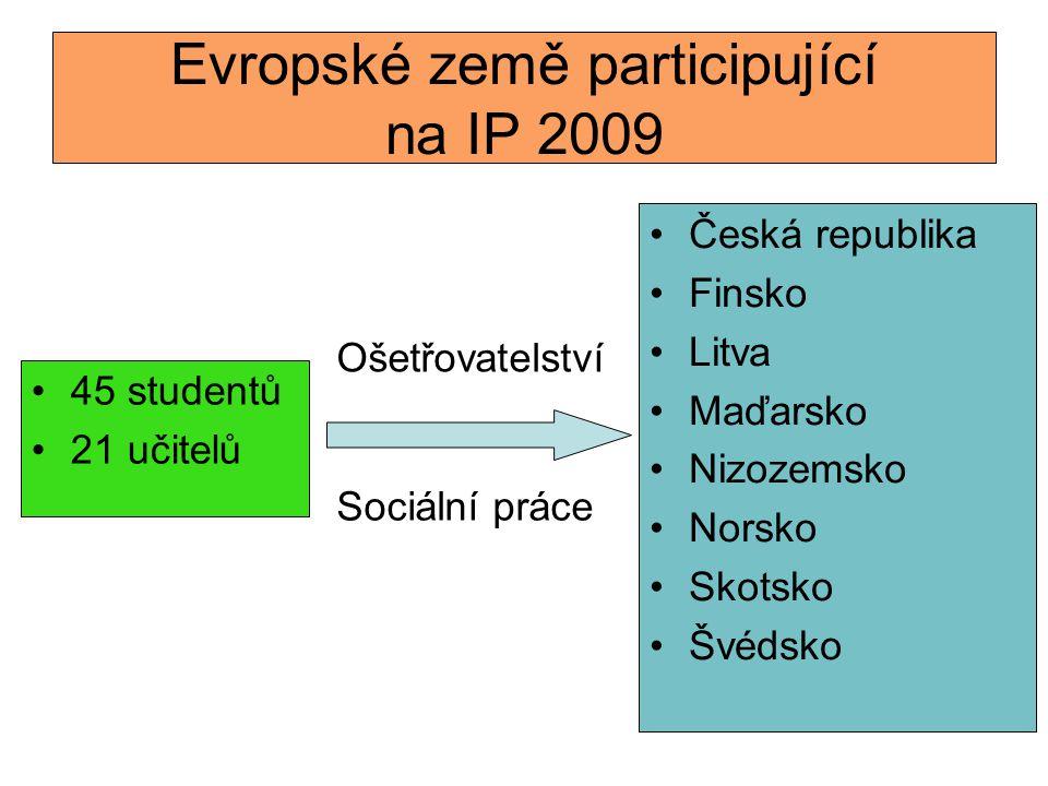 Evropské země participující na IP 2009 •Česká republika •Finsko •Litva •Maďarsko •Nizozemsko •Norsko •Skotsko •Švédsko •45 studentů •21 učitelů Ošetřo