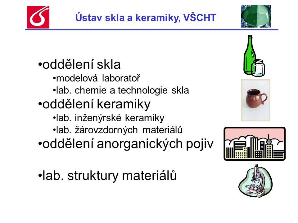 Ústav skla a keramiky, VŠCHT •oddělení skla •modelová laboratoř •fyzikální modelování sklářských pecí •matematické modelování sklářských pecí výstupy → technologické a konstrukční parametry tavicích pecí •vývoj olovnatého a bezolovnatého křišťálu •iontově vodivá skla, optické vlnovody •zrcadla pro vesmírné teleskopy •membrány pro palivové články •krystalizace skel pro vitrifikaci odpadů Rozložení teplot v peci - t [°C] Proudění v peci – v [m/h]
