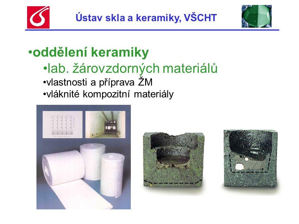 Ústav skla a keramiky, VŠCHT •oddělení keramiky •lab. žárovzdorných materiálů •vlastnosti a příprava ŽM •vláknité kompozitní materiály