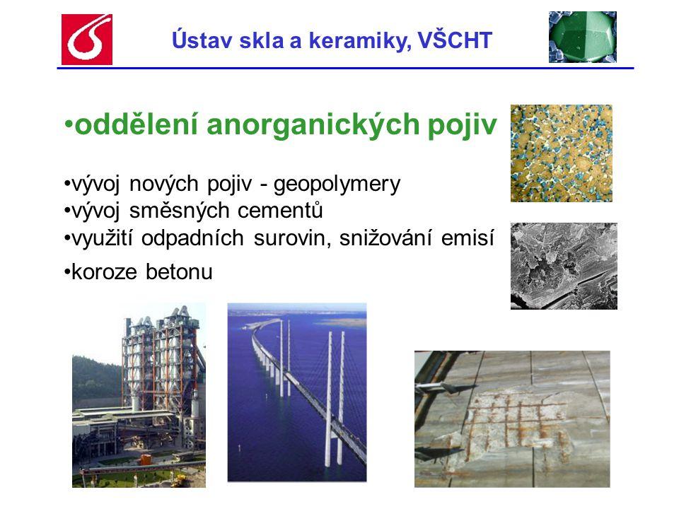 Ústav skla a keramiky, VŠCHT •oddělení anorganických pojiv •vývoj nových pojiv - geopolymery •vývoj směsných cementů •využití odpadních surovin, snižo