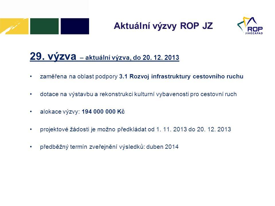 Aktuální výzvy ROP JZ 29. výzva – aktuální výzva, do 20. 12. 2013 •zaměřena na oblast podpory 3.1 Rozvoj infrastruktury cestovního ruchu •dotace na vý