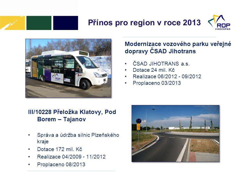 Přínos pro region v roce 2013 III/10228 Přeložka Klatovy, Pod Borem – Tajanov •Správa a údržba silnic Plzeňského kraje •Dotace 172 mil. Kč •Realizace