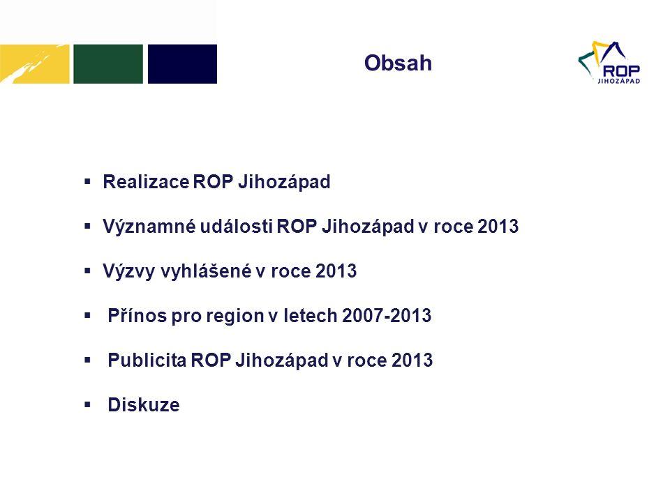 Obsah  Realizace ROP Jihozápad  Významné události ROP Jihozápad v roce 2013  Výzvy vyhlášené v roce 2013  Přínos pro region v letech 2007-2013  Publicita ROP Jihozápad v roce 2013  Diskuze