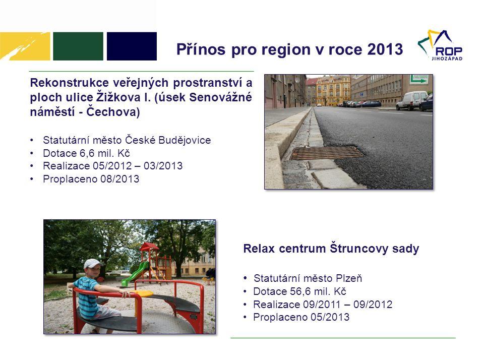 Přínos pro region v roce 2013 Rekonstrukce veřejných prostranství a ploch ulice Žižkova I.