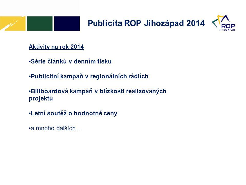 Publicita ROP Jihozápad 2014 Aktivity na rok 2014 •Série článků v denním tisku •Publicitní kampaň v regionálních rádiích •Billboardová kampaň v blízko