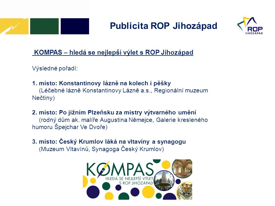Publicita ROP Jihozápad KOMPAS – hledá se nejlepší výlet s ROP Jihozápad Výsledné pořadí: 1.