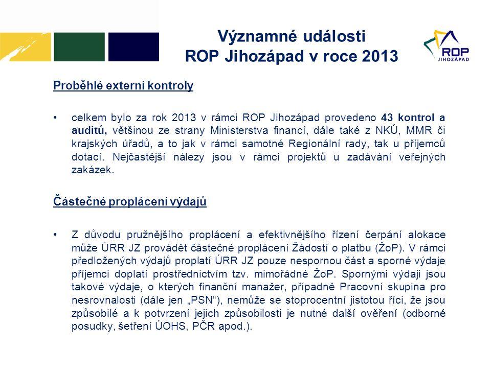 Významné události ROP Jihozápad v roce 2013 Proběhlé externí kontroly •celkem bylo za rok 2013 v rámci ROP Jihozápad provedeno 43 kontrol a auditů, většinou ze strany Ministerstva financí, dále také z NKÚ, MMR či krajských úřadů, a to jak v rámci samotné Regionální rady, tak u příjemců dotací.