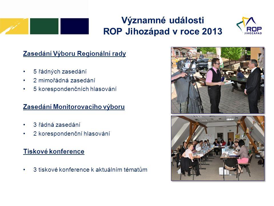 Významné události ROP Jihozápad v roce 2013 Zasedání Výboru Regionální rady •5 řádných zasedání •2 mimořádná zasedání •5 korespondenčních hlasování Zasedání Monitorovacího výboru •3 řádná zasedání •2 korespondenční hlasování Tiskové konference •3 tiskové konference k aktuálním tématům