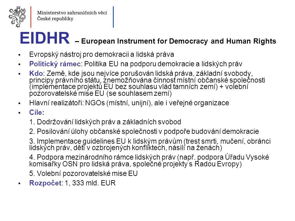 EIDHR – European Instrument for Democracy and Human Rights  Evropský nástroj pro demokracii a lidská práva  Politický rámec: Politika EU na podporu