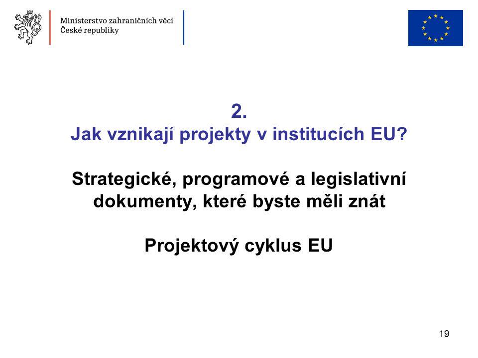 19 2. Jak vznikají projekty v institucích EU? Strategické, programové a legislativní dokumenty, které byste měli znát Projektový cyklus EU