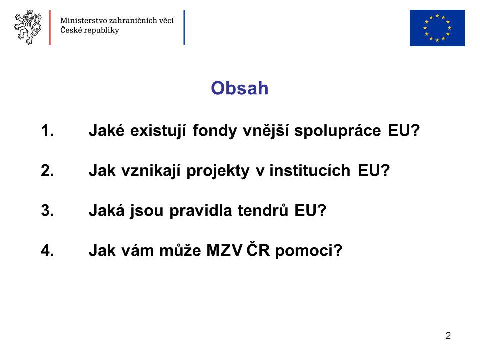2 1. Jaké existují fondy vnější spolupráce EU? 2. Jak vznikají projekty v institucích EU? 3. Jaká jsou pravidla tendrů EU? 4. Jak vám může MZV ČR pomo